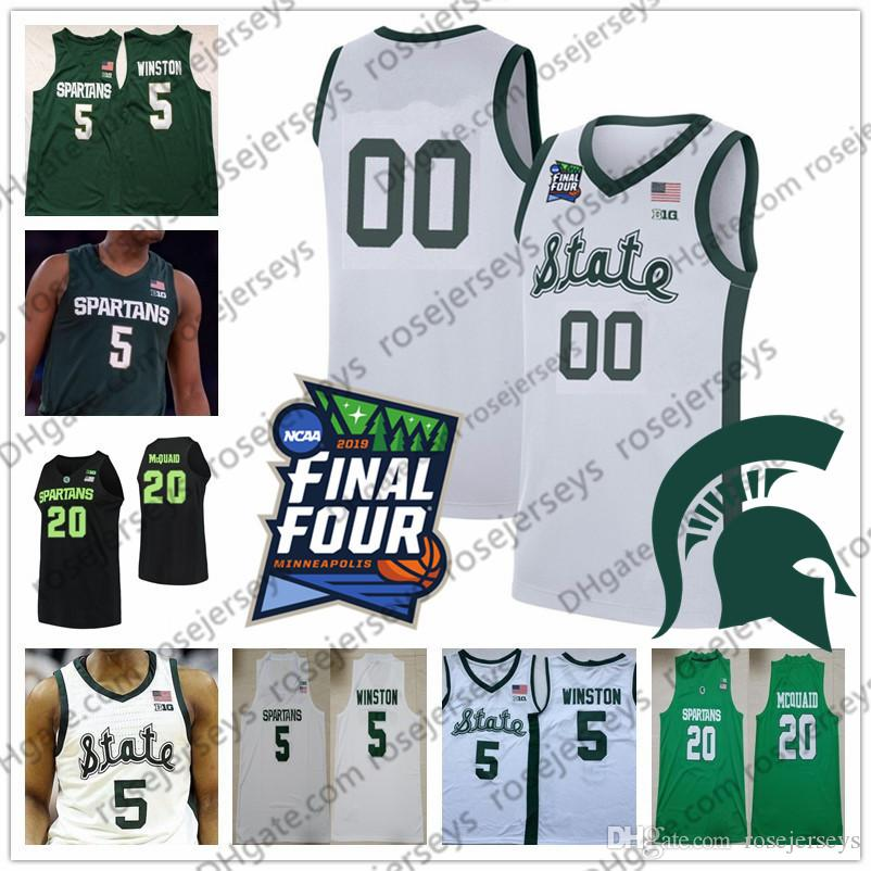 Custom Michigan State Spartans 2020 MSU Basketball White Black Green Any Name Number 5 Cassius Winston 23 Xavier Tillman Kithier Jersey 4XL