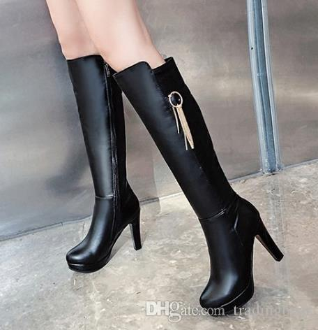 Plus size 34 to 40 41 42 43 sexy high heel knee boots winter designer boots beige black