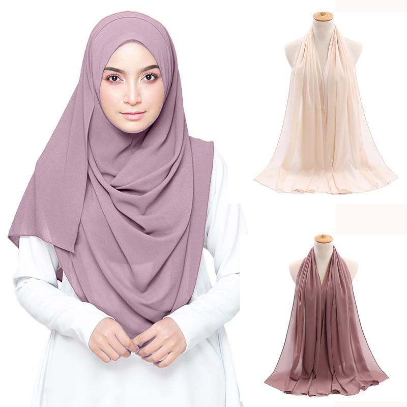 Bubble en mousseline de soie simple Hijab Châle Écharpe Femmes 2020 couleur solide à long Châles Wraps musulmans hijabs Echarpes Femme Femme Foulard