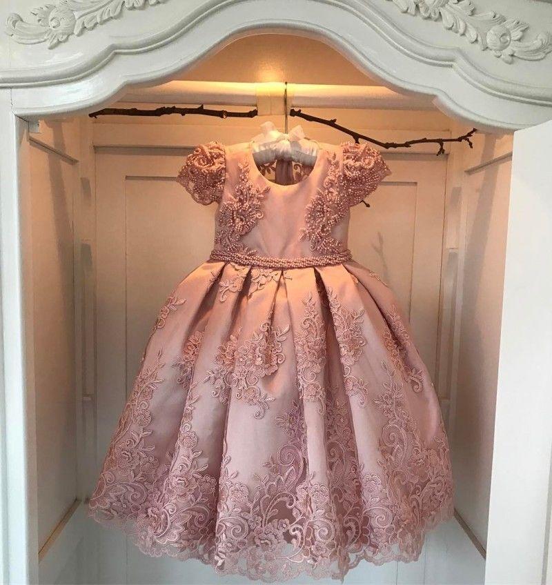 Vestido de bola del partido del vestido niña de las flores de color rosa de lujo apliques princesa del desfile de cumpleaños