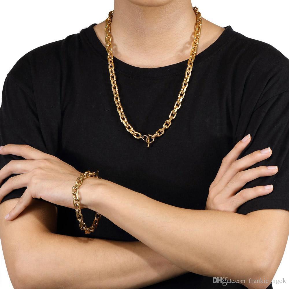 316l الفولاذ المقاوم للصدأ يا شكل سلسلة OT المشبك الهيب هوب مجموعات مجوهرات عالية مصقول 18 كيلو مطلية بالذهب للرجال النساء الأولاد قلادة أساور