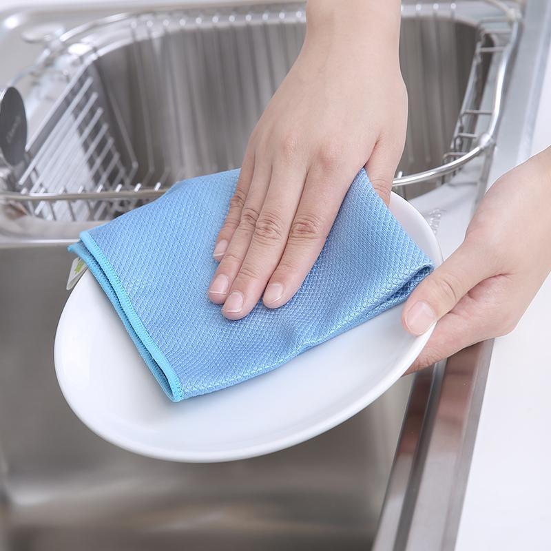 비는 자국과 보풀이없는 극세사 유리 와이프 주방을위한 누드 매직 접시 옷을 청소 비 기름 헝겊