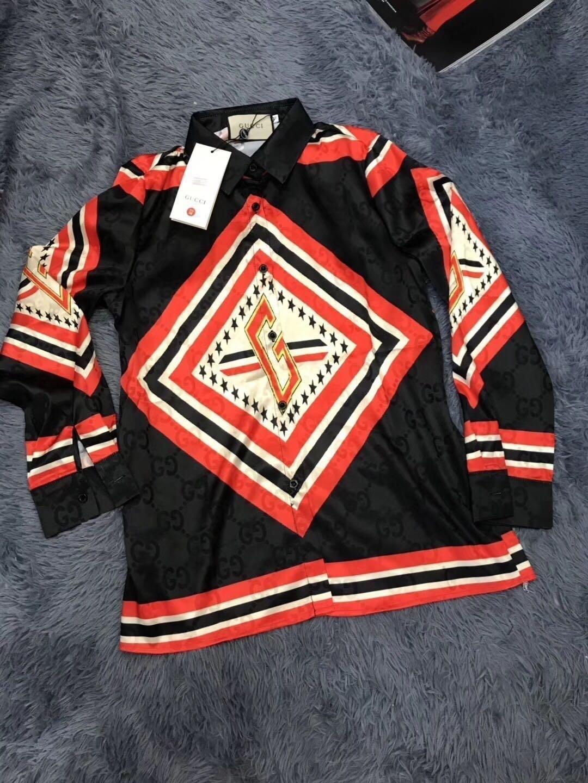 Schlank heißen Verkauf-neue Fit Langarm Herrenmode geometrische bedruckte Shirts Frauen legere Kleidung Bluse plus Größe 35 Tops