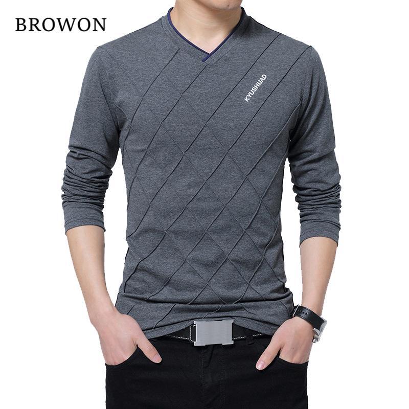 BROWON 2019 Мужская мода футболку Slim Fit Пользовательские футболки Складка Дизайн Длинные Стильный Роскошные V шеи Фитнес футболки майка Homme V191031