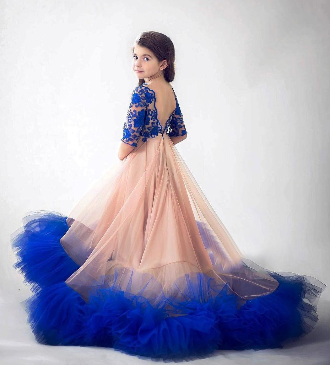 Royal Blue A Line 2020 Girls Pageant Dresses Lace Half Sleeves Flower Girls Princess Dress Formal Birthday Party Wear