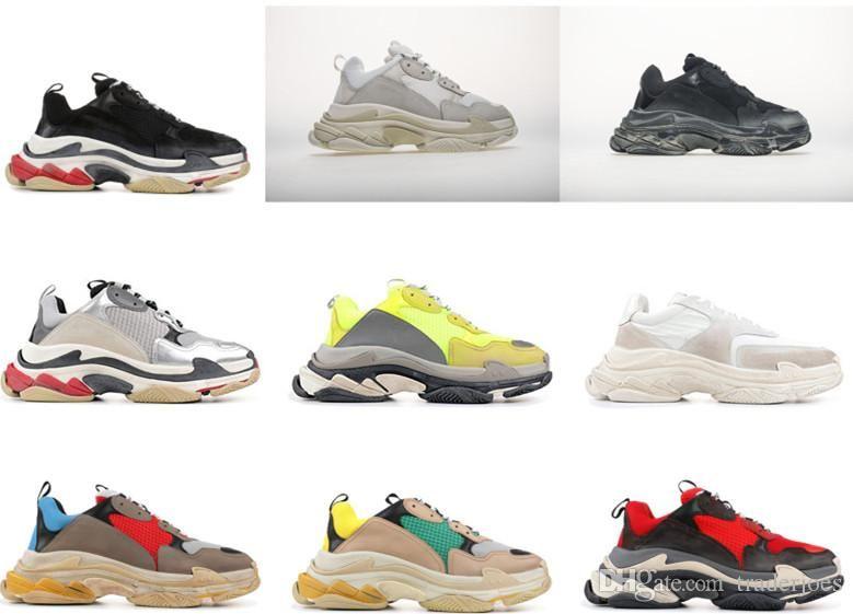 مع مربع 2018 رجل وإمرأة أحذية عادية ثلاثية S الفضة الجلد المدبوغ أبيض أصفر أخضر العلامة التجارية مصمم المدربين 35-45