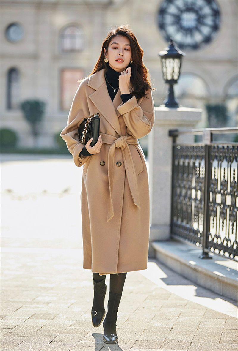 Luxury Damen Designer Lange Mäntel Revers-Ausschnitt Langarm-Winter-warme Mäntel zweireihige Femmes Vestidoes