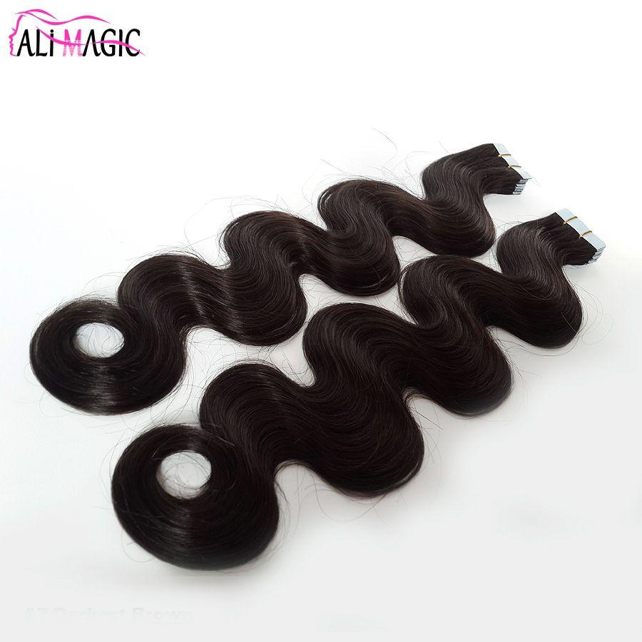 Tape de trame de peau invisible de haute qualité chaud dans une extension de cheveux Brésilien Body Wave 100% Real Remy Cheveux humains ondulés 100g 40pcs Prix usine