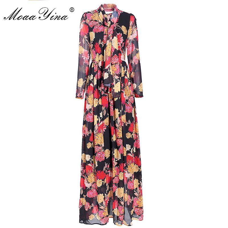 Abito lungo del vestito progettista MoaaYina Moda Primavera Donna Autunno manica Ribbon stampe floreali Boemia ha pieghettato i vestiti Maxi