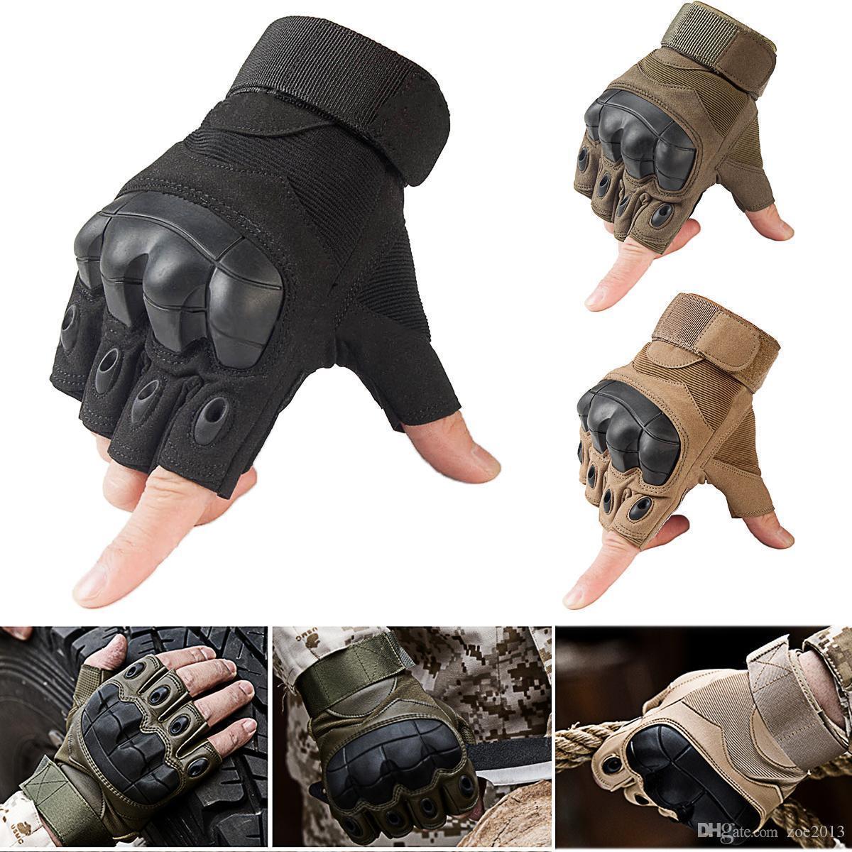 Новый 2018 Тактические перчатки Hard Knuckle Half Finger Открытый Военная подготовка Пейнтбол кросса гонки Спорт высокого качества
