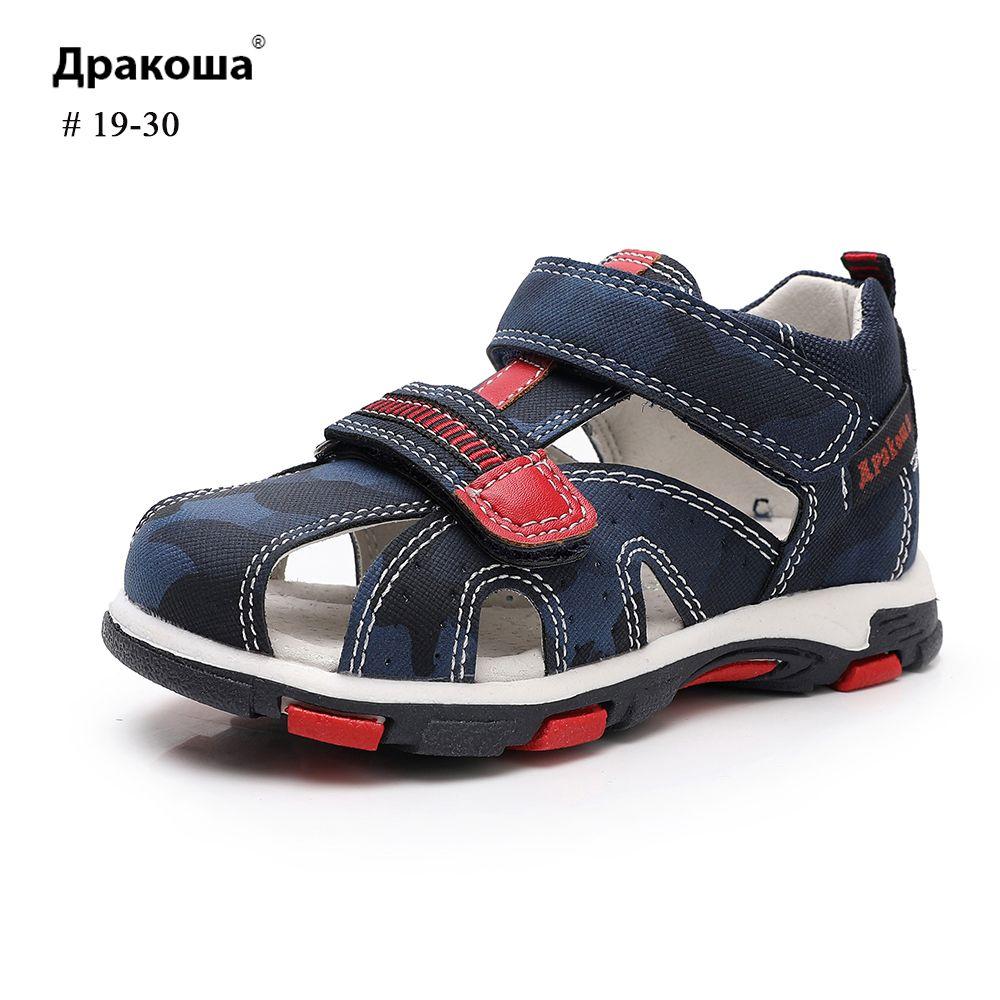 Apakowa Yaz Sandalet Kamuflaj HookLoop 3 Renkler Çocuklar ayakkabı T200608 için Kemerli Erkek Sandalet Delik Nefes Ter