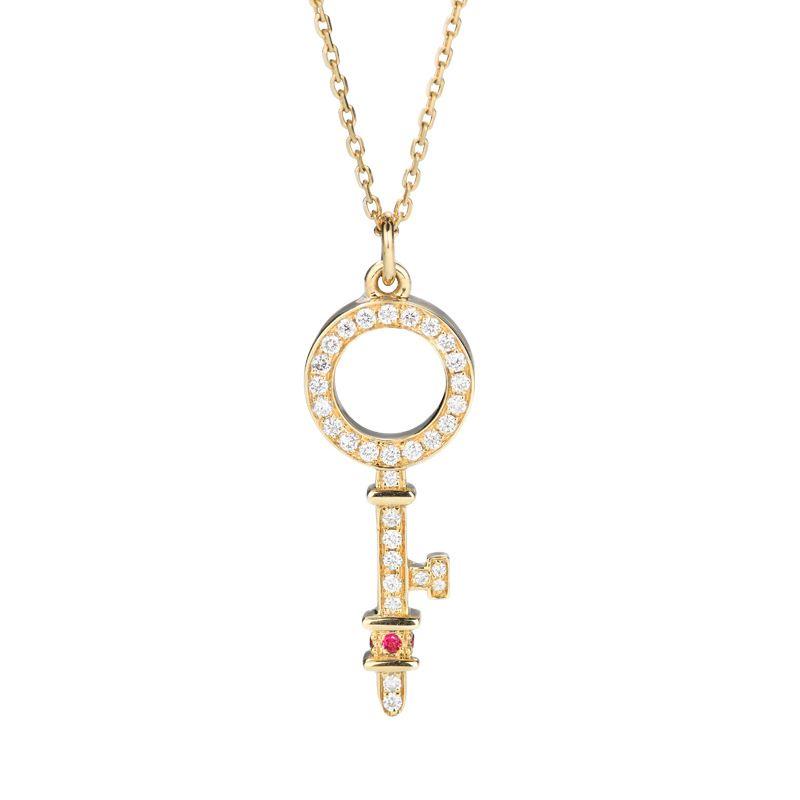 Delicato chiave diamante rubino naturale 18 carati Collana solido reale genuino oro AU750 per le donne dell'alta società della pietra preziosa gioielleria clavicola