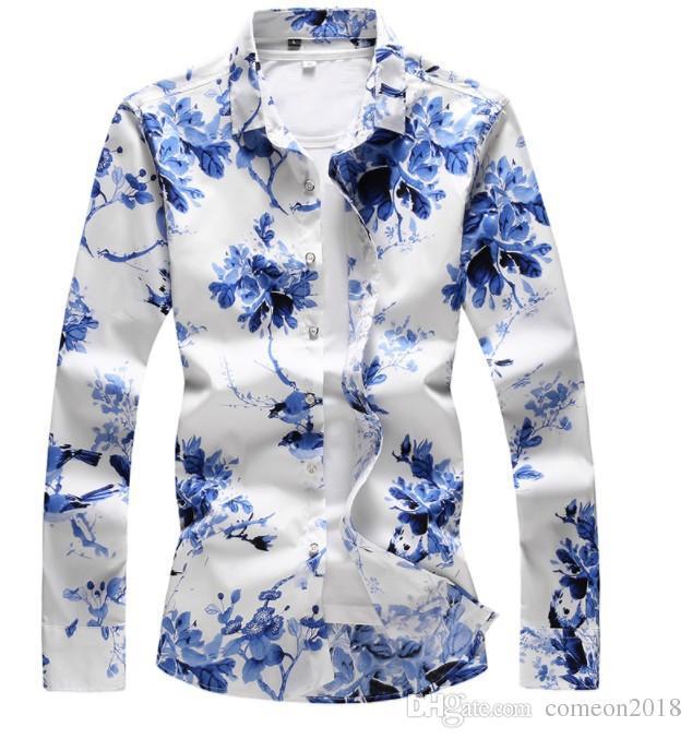 Mens-Designer-Kleidhemden 2019 Luxusfrühlingssommermode Mens-Kleidung Blaue und weiße Porzellandruckt-shirts langärmliges beiläufiges Hemd