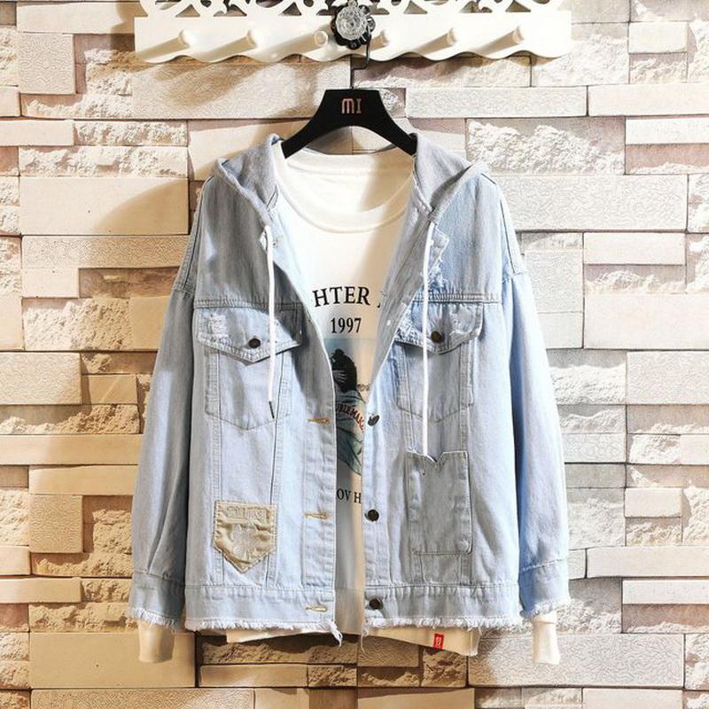 Molla di autunno 2019 più di formato 7XL 6XL 5XL 4XL-L MAX PETTO 146cm Denim Jean giacca uomini stand Collare Fashion Casual