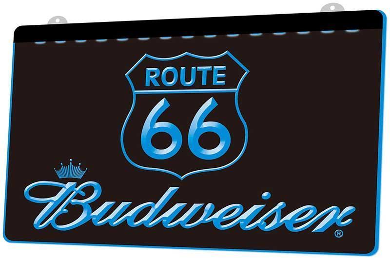 Ls1909 Route 66 Budweisers Bar Rgb multiple Couleur télécommande 3D Gravure Led Neon Light Sign Boutique Bar Pub club