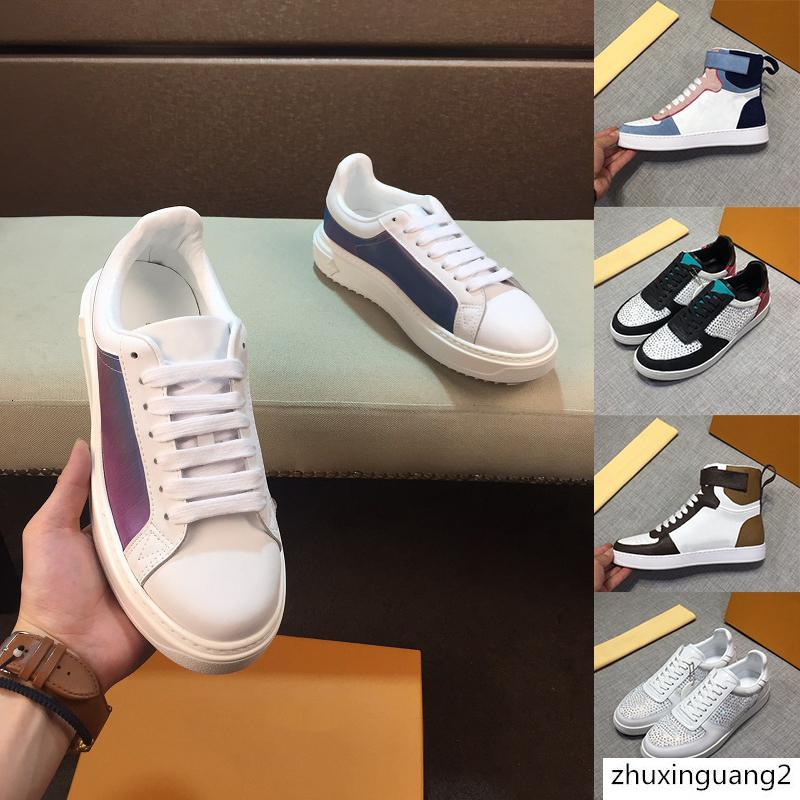 Baskı Deri Hook ve Döngü Lace Up Ayakkabı Sıcak Satış Klasik RIVOLI SNEAKER Erkek Lüks Tasarımcı Ayakkabı Yüksek Üst Günlük Ayakkabılar