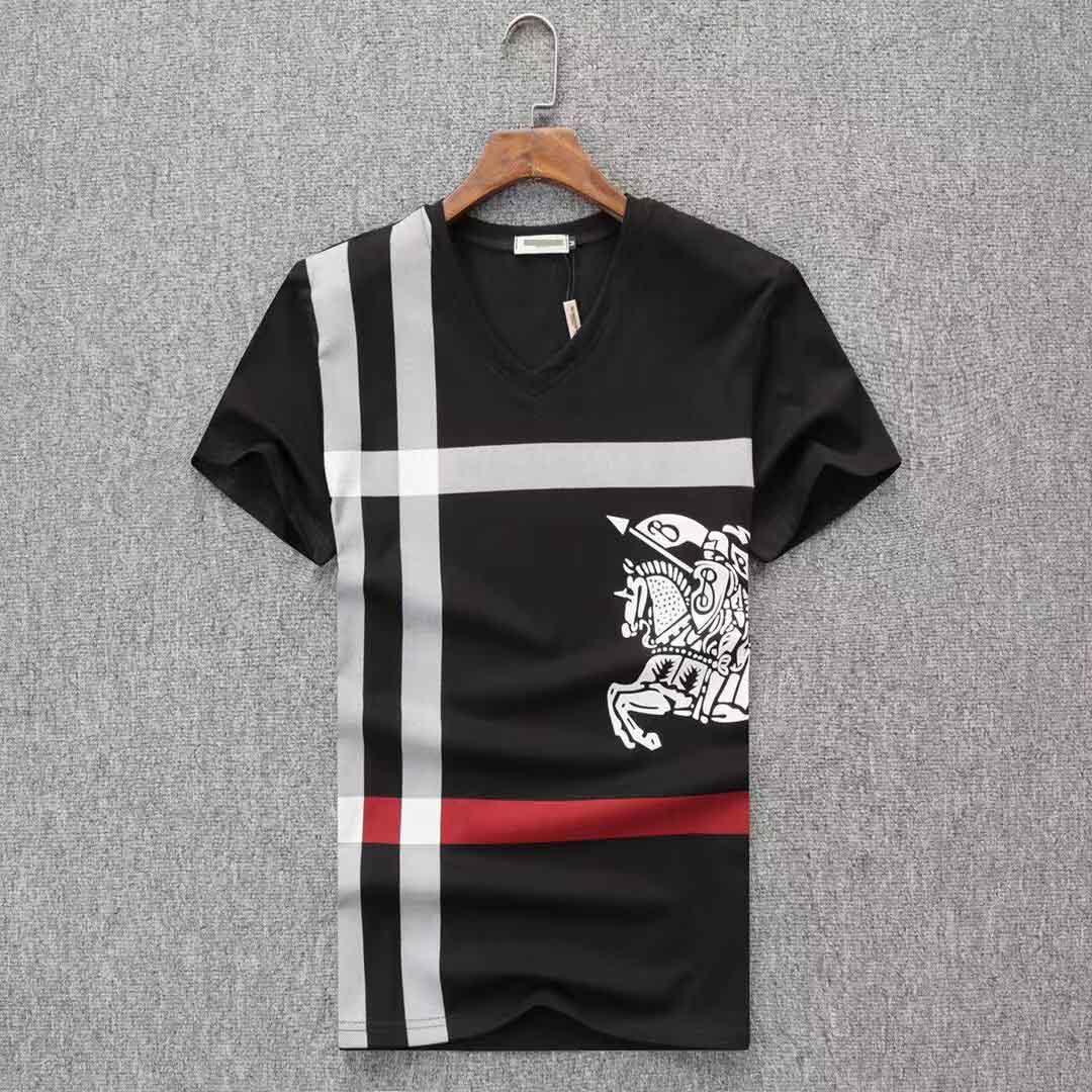 2019 nuova maglietta del progettista Europa Parigi ricamo contrasto patchwork Tshirt Moda Mens Designer T Shirt uomo casual vestiti in cotone Tee