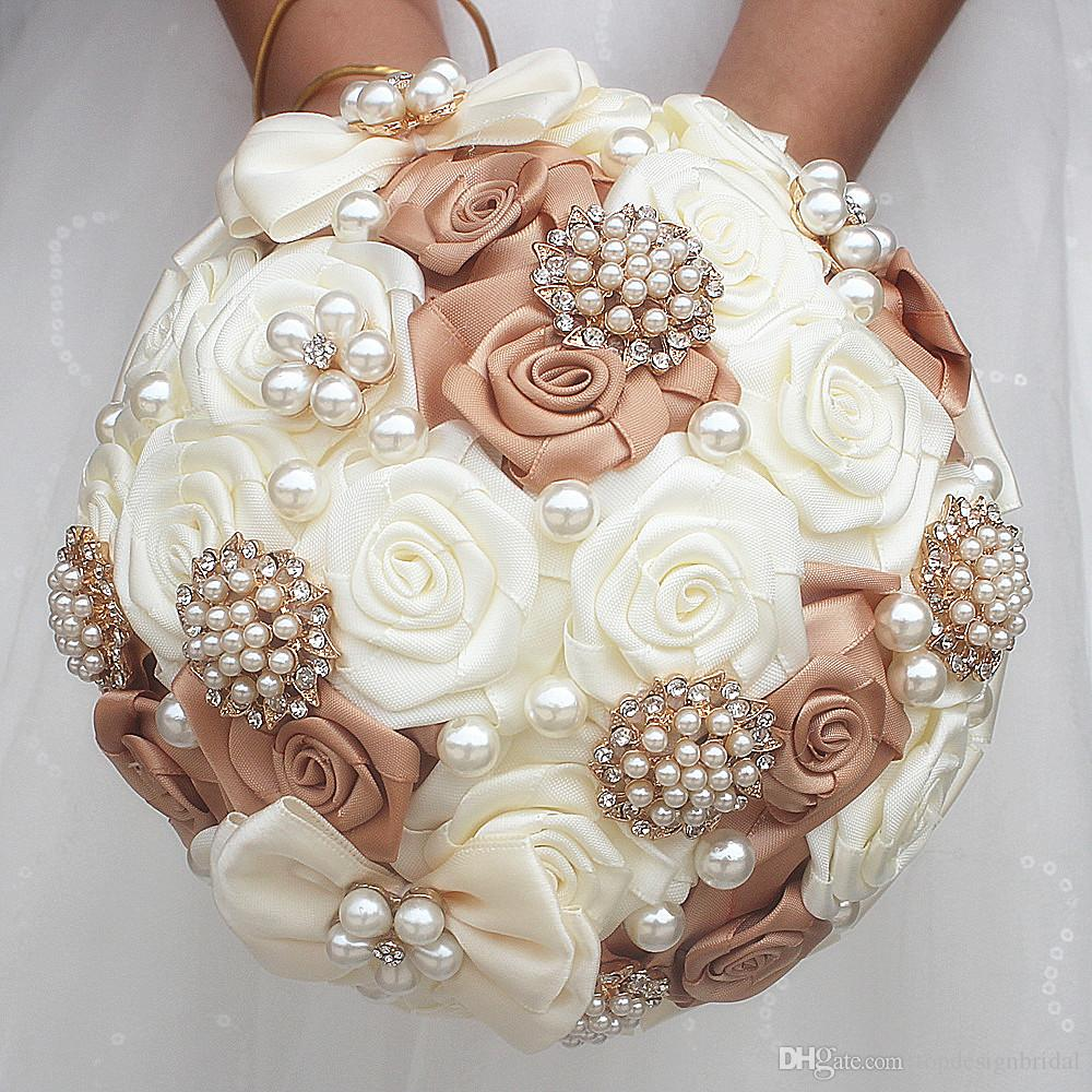 silver wedding bouquets satin ribbon sweet 15 quinceanera bouquets  artificial flowers rhinestones crystal bridal holding flowers w178 wedding  flowers