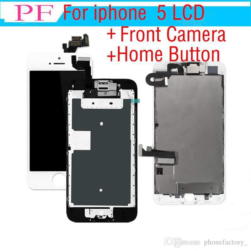 1 Piece Grade A+++ Touch Screen LCD For iPhone 5 5G 5C Assembly Replacement Screen Digitizer with Home Button + Front Camera