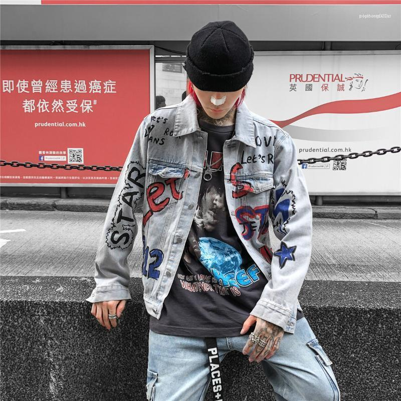 Luva pintada à mão Roupa Hommes Vestuário Mens Designer Graffiti Jean Jackets Street Style Moda Longo