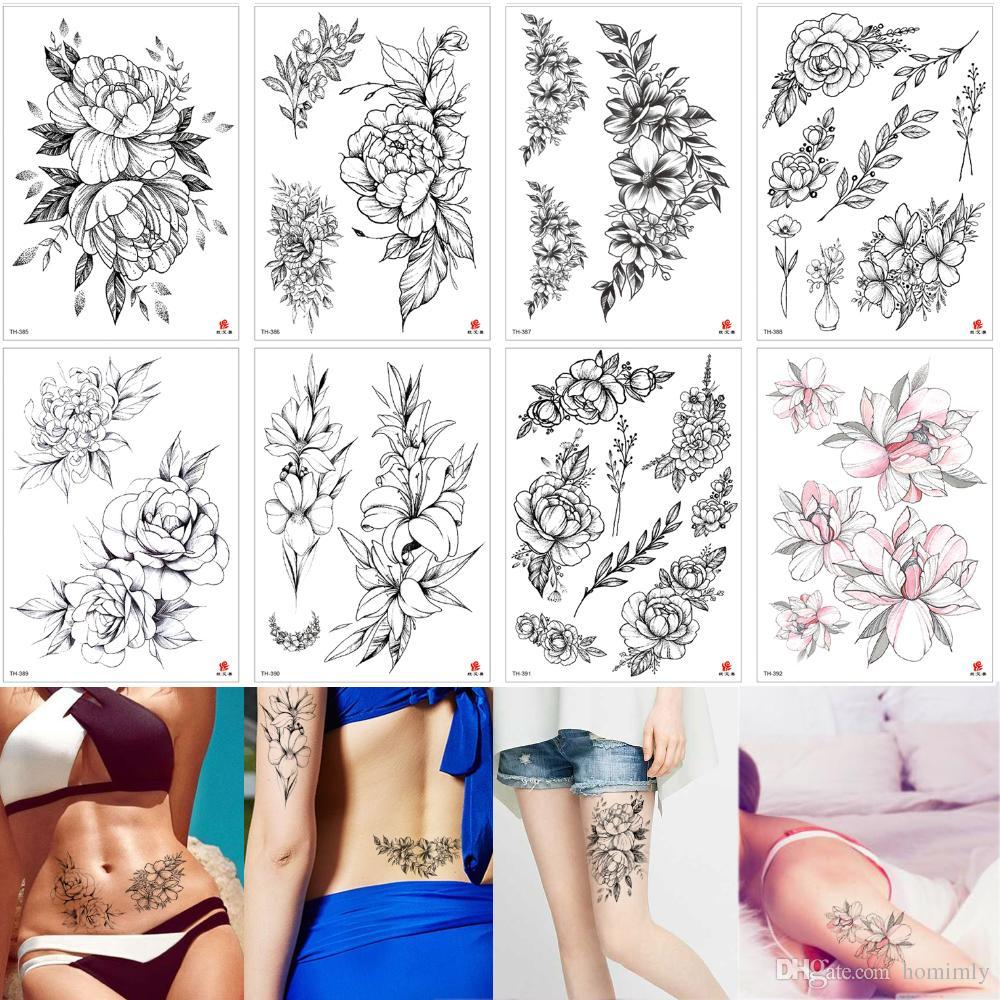 Fashion Black Small Sketch Flower Tattoo Temporary Peony Floral Body Art for Women Waist Chest Leg Arm Jewelry Tattoo Sticker Transfer Paper
