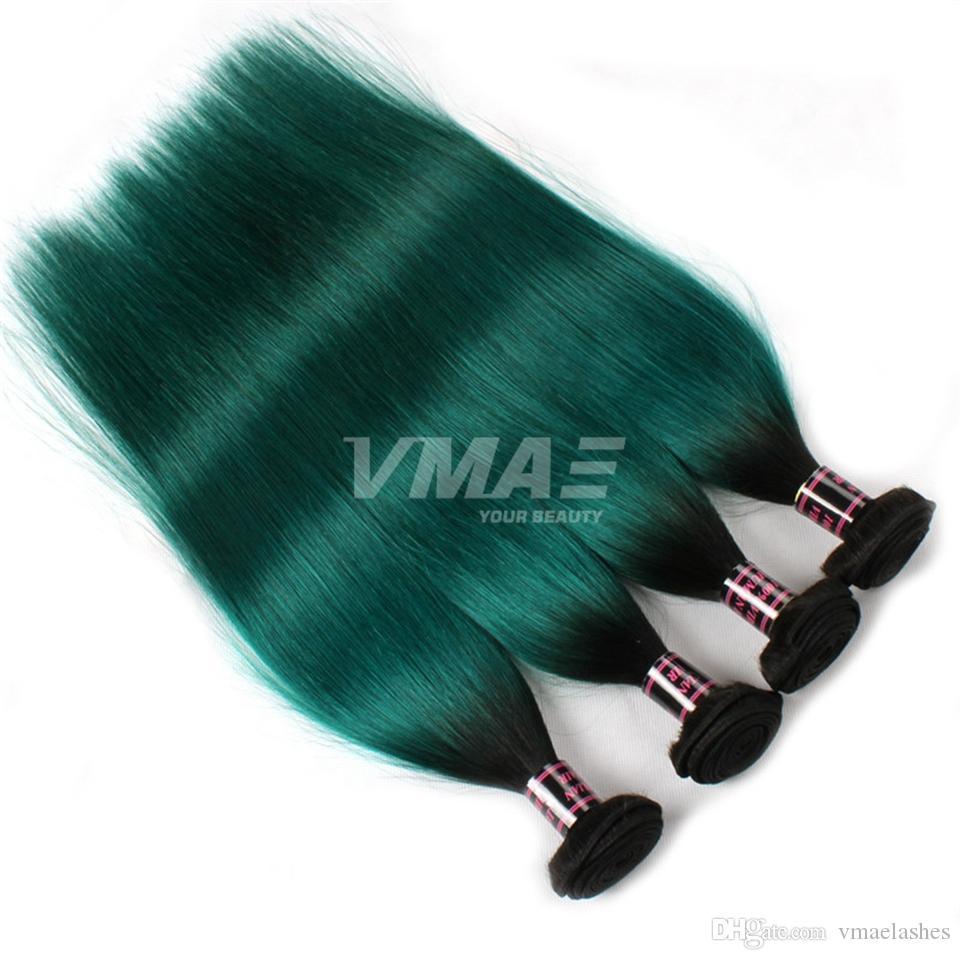 VMAE 브라질 인간의 머리 되죠 3 번들 자연 부드러운 직선 씨실 두 톤 # 1B / 녹색 옹 브르 컬러 버진 헤어 확장