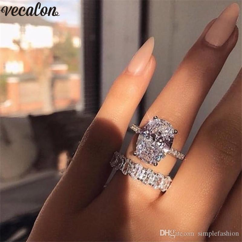 Vecalon Klasik 925 Gümüş yüzük kadınlar Gelin bijoux için Elmas Taşlı Nişan düğün Bant halkalar 3ct Oval kesim set