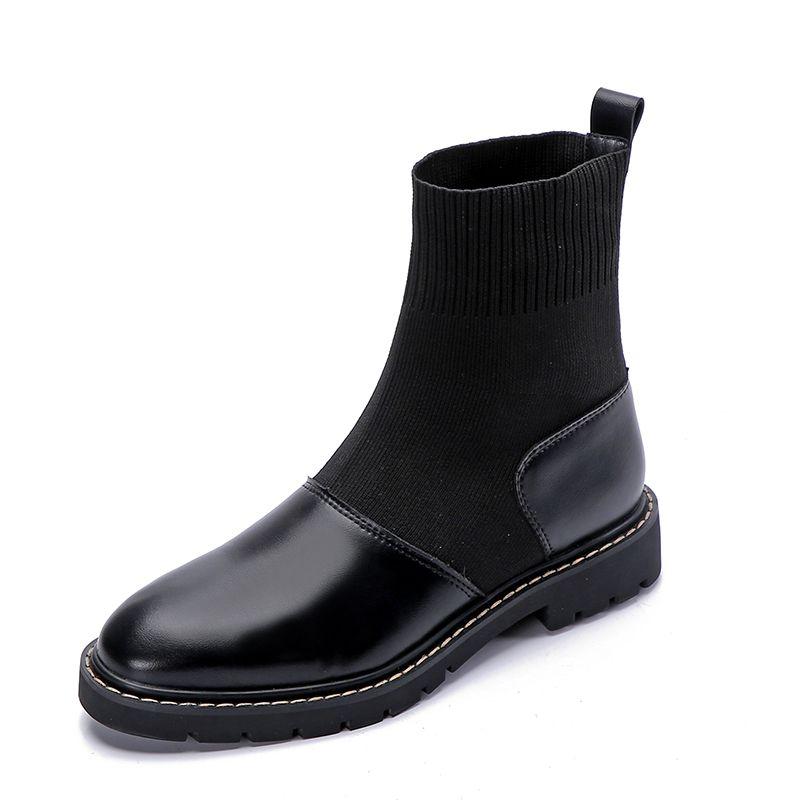 Moda felpa corta Negro Botas de invierno de las mujeres los cargadores del tobillo de otoño mujer plano botas de cuero + Knitting Botas Plataforma Mujer