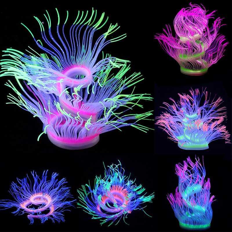 Decoración de silicona acuario Coral Artificial decoración cambiable suave Sea Fish Tank anémona ornamento paisaje brillando en la luz