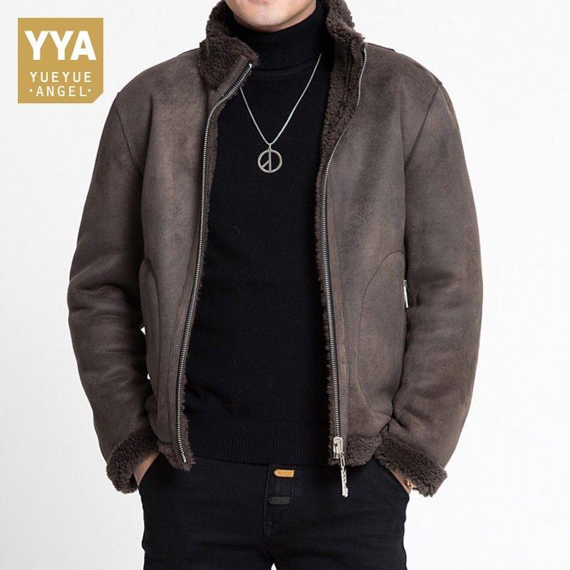 Mens Winter Slim Fit Short Shearling Jacket Real Wool Lining Office Work Coat Biker Man Sheepskin Genuine Leather Outwear Coats