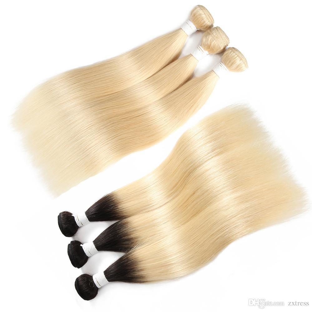 613 brasiliana diritta di estensioni dei capelli Doppia trame capelli non trattati dei capelli umani del tessuto brasiliano Ombre tessuto brasiliano Bundles 1B Biondo