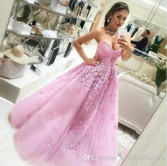 Long Pink Prom Dresses Sweetheart Sleeveless Lace Appliques Floor Length Tulle A-line Evening Party Formal Gowns Custom Made