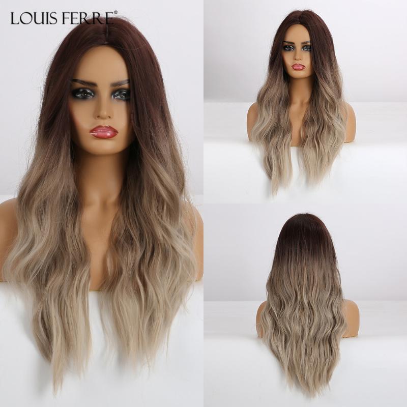 LOUIS FERRE naturel vague perruque noire Marron Beige Ombre perruques synthétiques longues perruques pour les femmes résistant à la chaleur partie médiane fibre cheveux