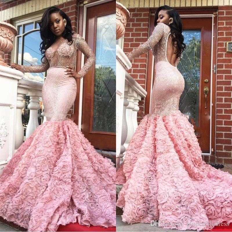 New Luxury African Mermaid Long Sleeves Middle East 2020 Prom Dresses For Black Girls Sexy Sheer Evening Gowns Custom Made Festa BA4595