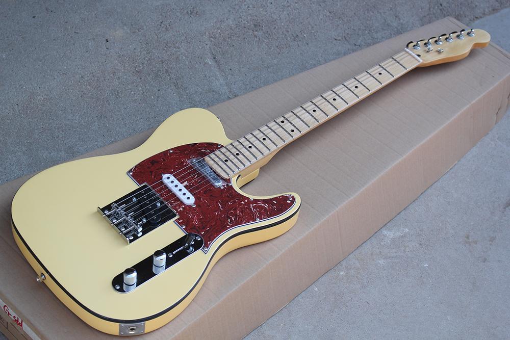 Fabbrica di luce su misura giallo Chitarra elettrica con l'acero Manico di chitarra, Red Pickguard, Chrome Hardware, Nero Binding corpo, può essere personalizzato
