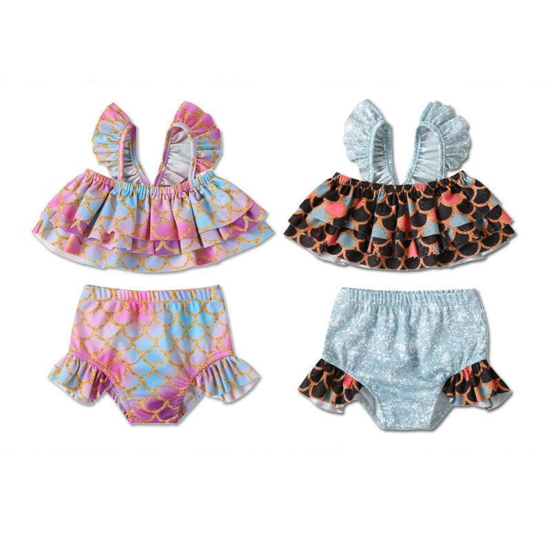 Pudcoco Русалка купальный костюм для малышей дети девочка рыбья чешуя топы + шорты бикини набор наряды купальники пляжная одежда