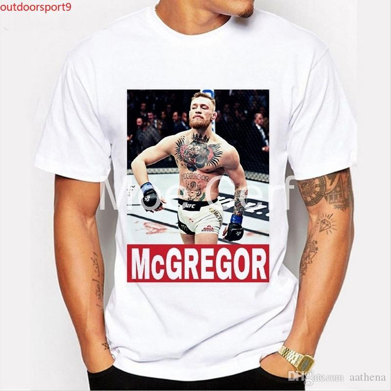 Men T-shirt Brand MMA Conor Mcgregor Funny T Shirt Boxer Fitness CROSSFIT White Short Sleeve Casual Tees Hipster L9-D-49
