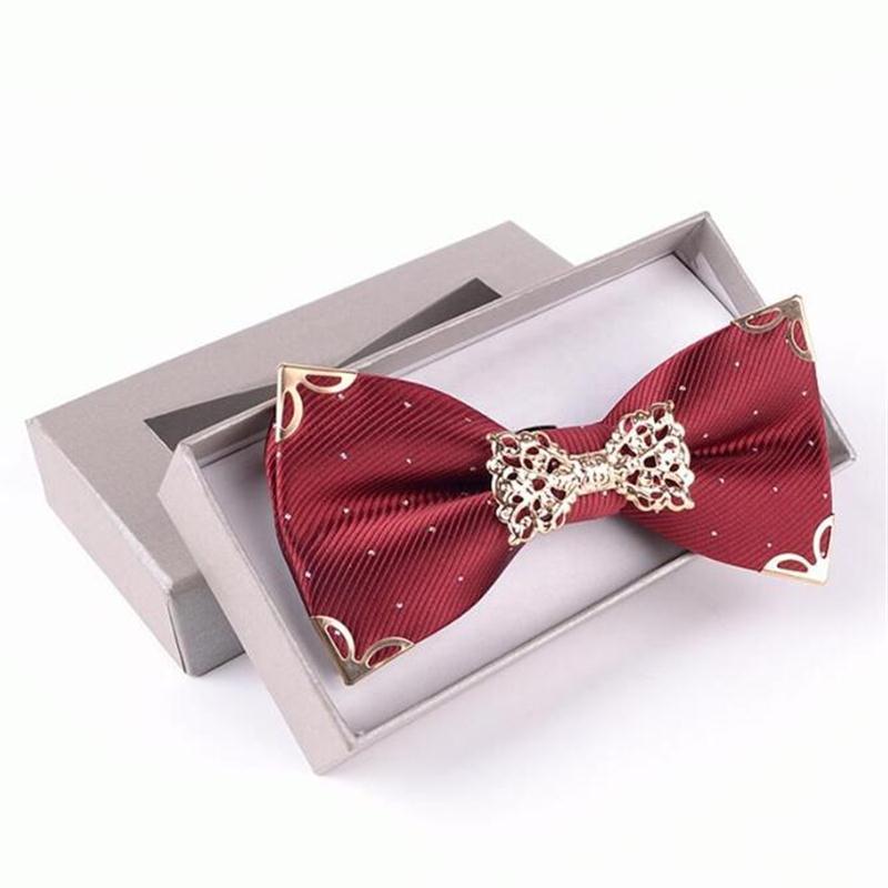 Luxo Metal Laço Laço Poliéster Ajustável Knot Borboleta Decorado Decorado Gravatas Presente Boxed 2 Pçs / Lot