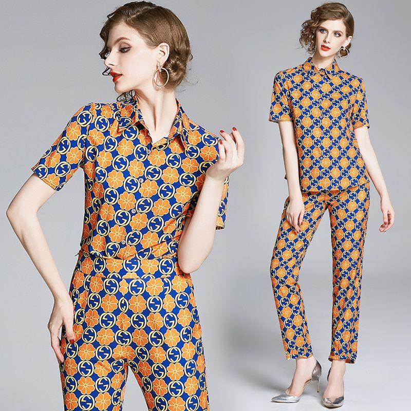 클래식 럭셔리 두 조각 세트 플러스 사이즈 여성 짧은 소매 인쇄 셔츠 + 긴 바지 2 개 숙녀 활주로 디자이너 두 조각 바지