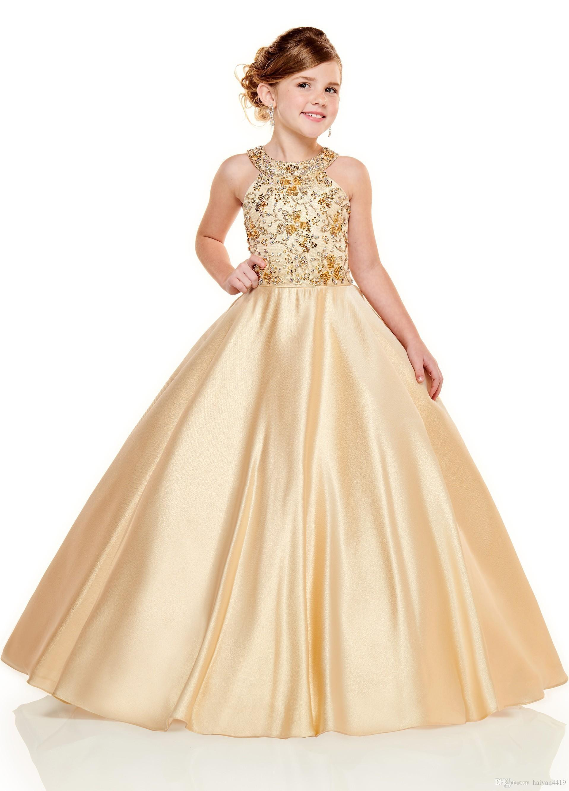 결혼식 새틴 레이스 아플리케 구슬 민소매 여자 선발 대회 드레스 댄스 파티 어린이 성찬식 드레스를위한 새로운 사랑스러운 골드 라일락 꽃의 소녀 드레스