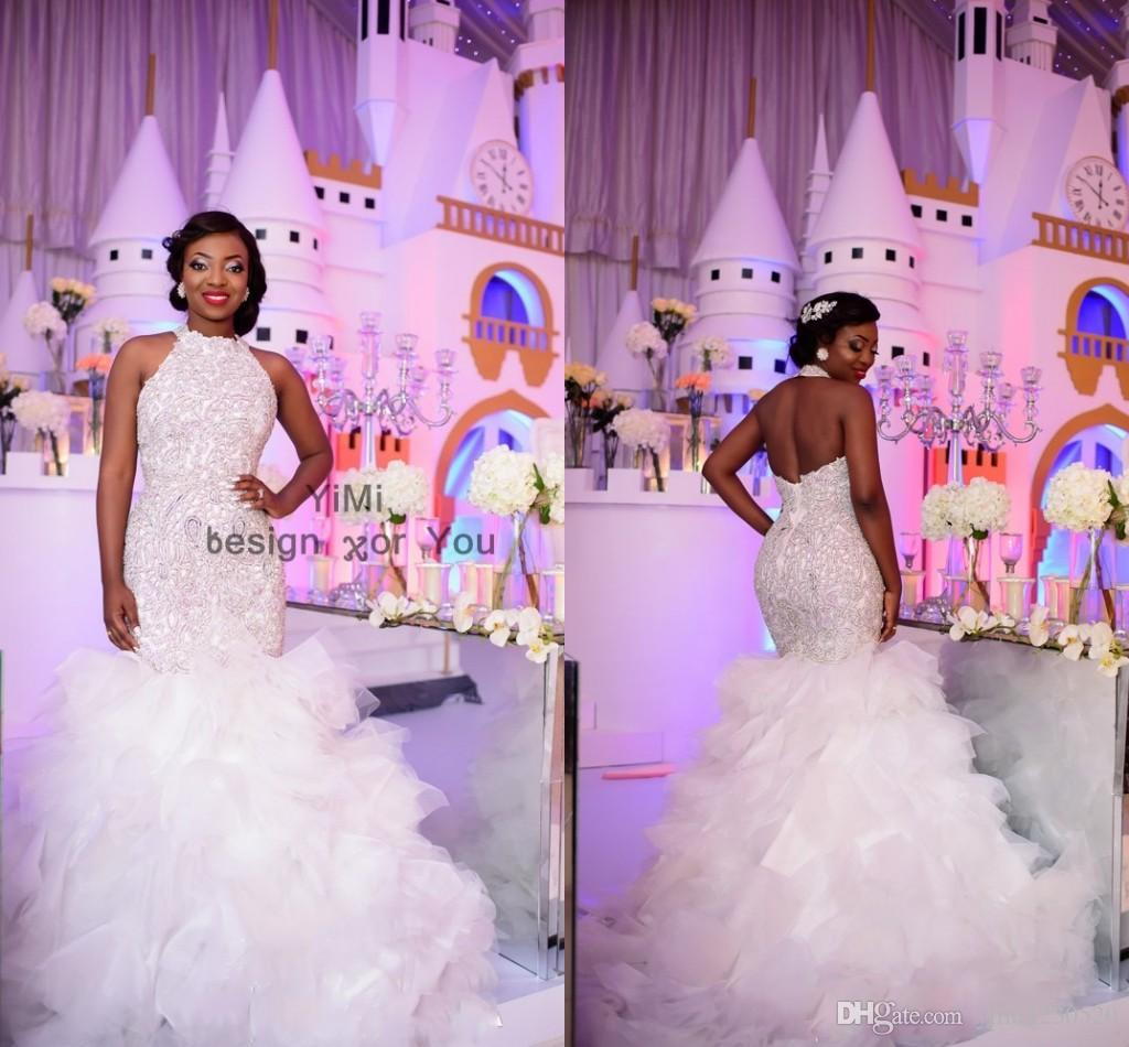 Sparkly Halter White Mermaid Wedding Dresses Backless Cascading Ruffles Appliques Beads Black Girl Chapel Garden Country Bridal Gowns 2019
