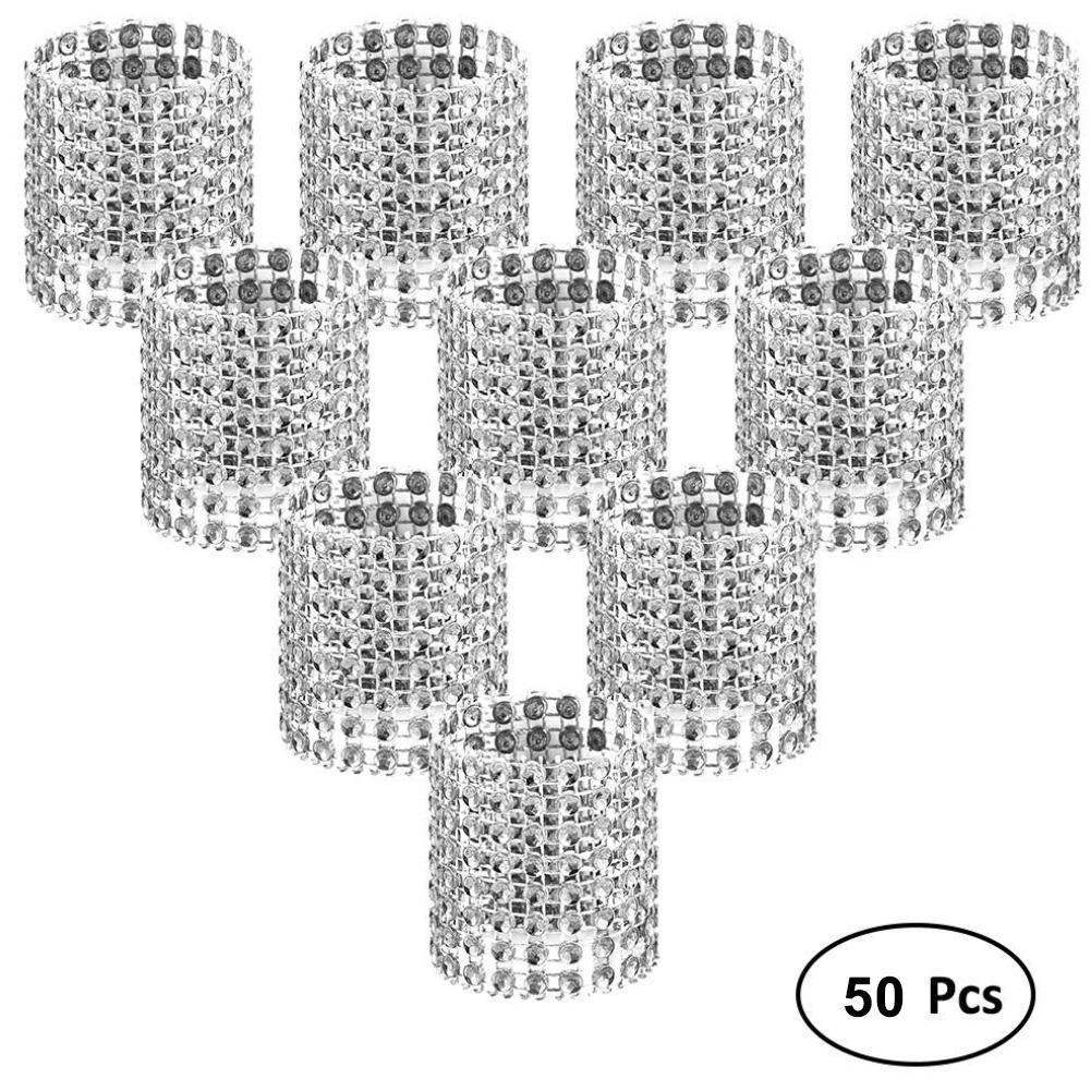 New 50Pcs 8 Row Rhinestone Napkin Rings Holder Wedding Banquet Party Table Decor