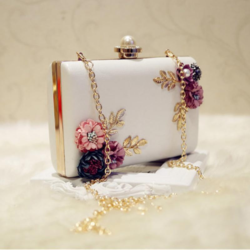 LJL Fashion Women Leather Evening Bag Dinner Party Lady Wedding Flower Clutch Purse(white) Y200103