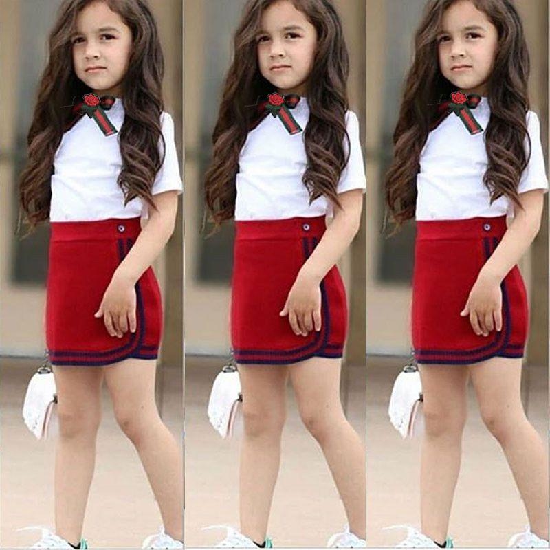Los niños del niño del bebé de Verano Primeros chaleco de la camiseta + falda ropa de la manera Trajes Set