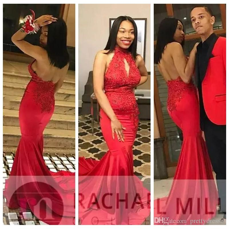 Halter Mermaid Prom Dresses Slim Lace Appliques 2019 Middle East Sweep Train Sexy Backless Zipper Back Evening Party Gowns Beading Sequins