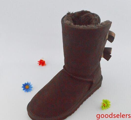 БЕСПЛАТНАЯ ДОСТАВКА Рождество NEW Австралия классические высокие зимние сапоги натуральная кожа Bailey Bowknot женщины Бэйли лук снег сапоги ботинки ботинки