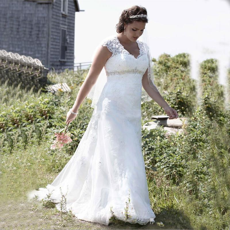 Pizzo Alto Vita Cap vestiti nuovo Plus Size Impero Wedding manica con scollo a V in rilievo sweep treno nuziale Gowns