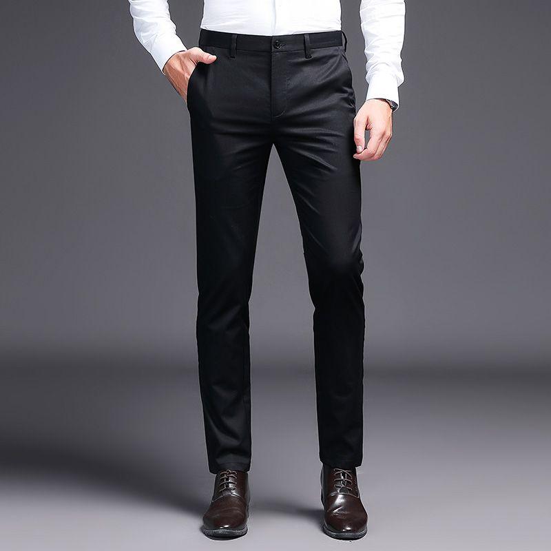 2019 Pantalones de vestir para hombres Pantalones de traje de color caqui Pantalones de negocios negros de la marca de moda Trabajo recto para pantalones pitillo de color sólido para hombres