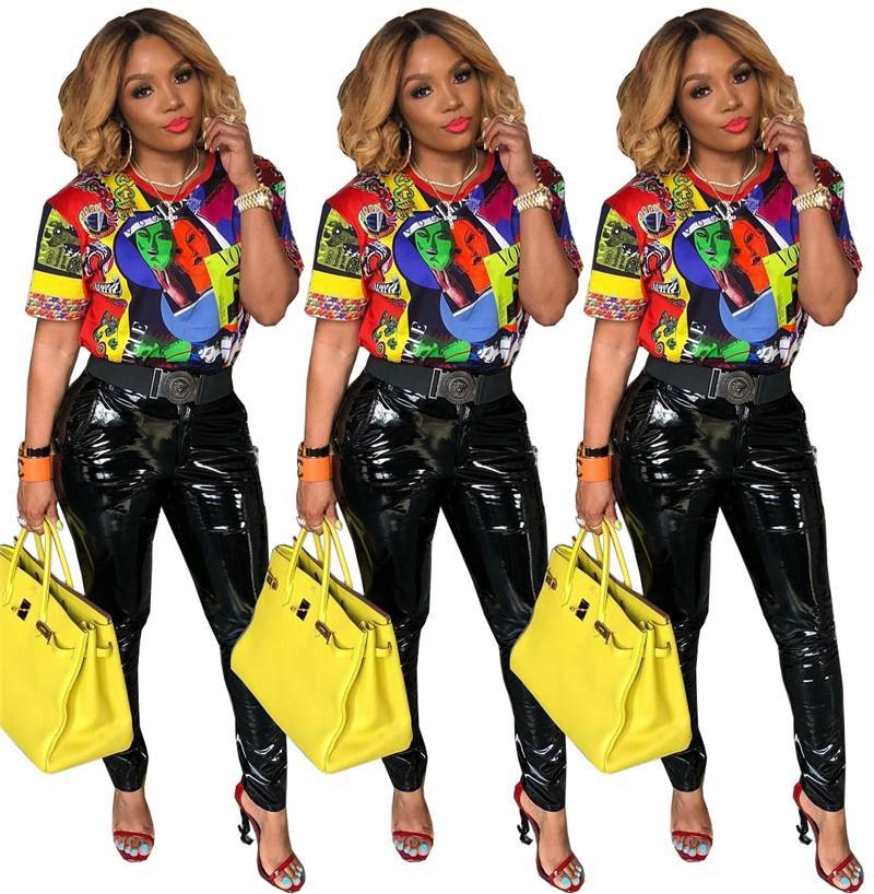 Printed Designer Tshirts Women Casual Summer Contrast Color Short Sleeve Loose T Shirts Fashion Women Tees