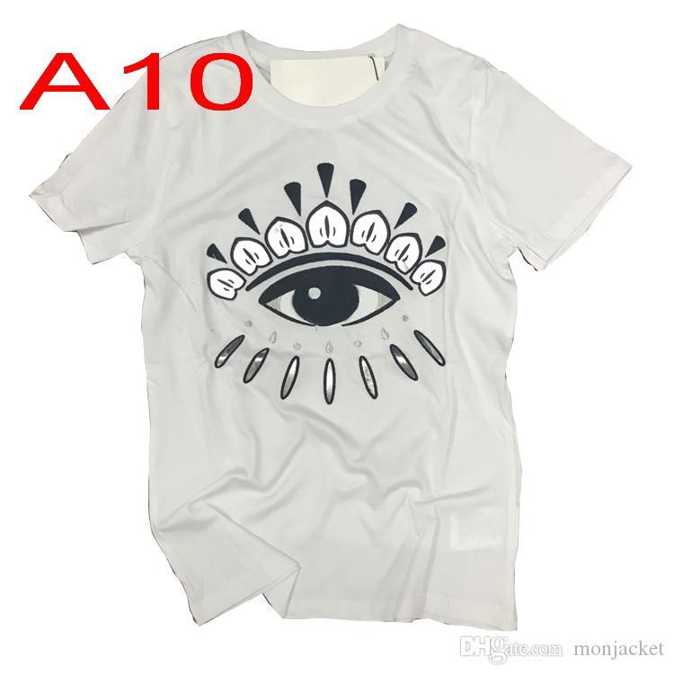 Mode Marque Homme T-shirts de haute qualité Broderie yeux T-shirts Lady Hip Hop Lettre à manches courtes en gros Drop Shipping